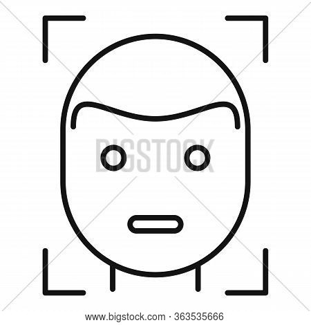 Face Detection Icon. Outline Face Detection Vector Icon For Web Design Isolated On White Background