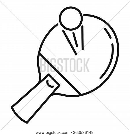 Ping Pong Paddle Icon. Outline Ping Pong Paddle Vector Icon For Web Design Isolated On White Backgro
