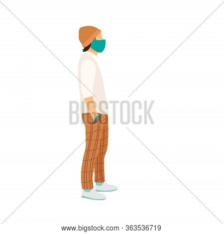 Man Stand In A Medical Mask And Gloves, Casual Wear Full-length Side View. Flat Vector Illustration