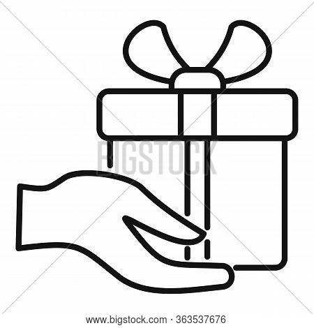 Fast Gift Box Shipment Icon. Outline Fast Gift Box Shipment Vector Icon For Web Design Isolated On W