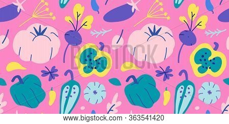 Vegetable Pattern, Agriculture Fruits Food Illustration, Farming Tomato, Sweet Pepper And Broccoli D
