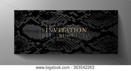 Luxurious Vip Invitation Template With Animal Print (snake Skin) On Black Background. Premium Class