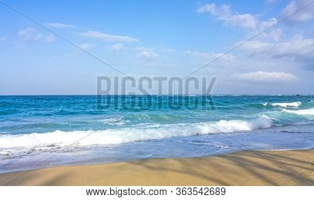 Caribbean Beach With Tropical Forest In Tayrona National Park, Colombia. Tayrona National Park Is Lo