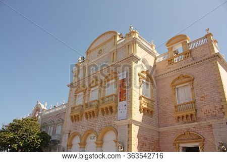 Cartagena De Indias - January 14: The Famous Heredia Theater In The Center Of Cartagena. Officially