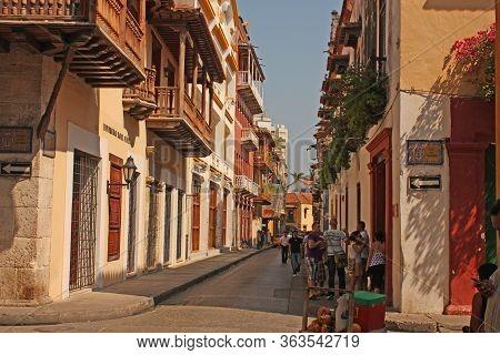 Cartagena De Indias - January 14: People In Street Of Walled City In Cartagena De Indias, Colombia.