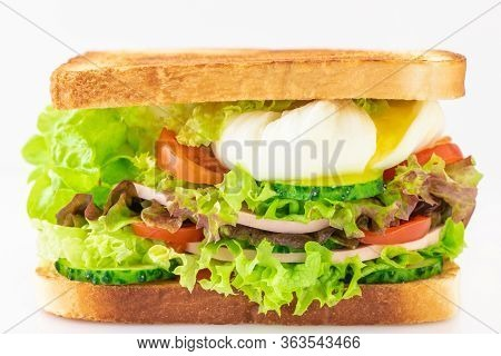 Sandwich With Fresh Lettuce, Ham, Cucumber, Tomato And Poached Eggs Isolated On White Background. Bo