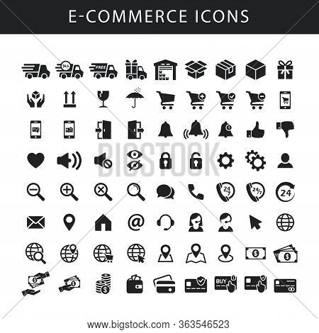 E-commerce Black Isolated Vector Icon Set. Icons For On-line Shop, Website, Fulfilment Service. Deli