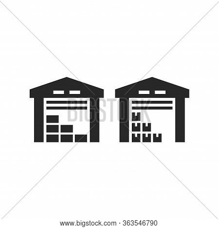 Warehouse Black Isolated Vector Icon. Fulfilment Service Storage Building Simple Glyph Symbol.
