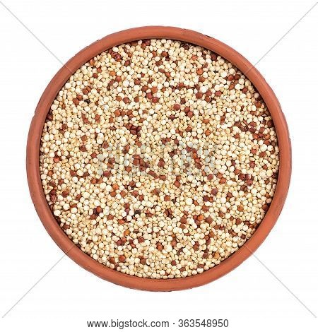 Mixed Quinoa Seeds In A Bowl Isolated On A White Background. View From Above
