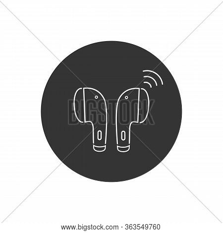 Earphone Bluetooth Line Icon Design. Earphone Icon In Modern Flat Style Design. Vector Illustration