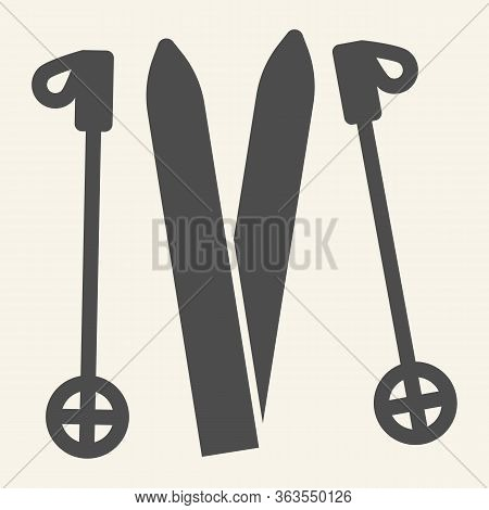 Skiing Solid Icon. Ski Equipment Glyph Style Pictogram On Beige Background. Skiing Gear Skis And Sti