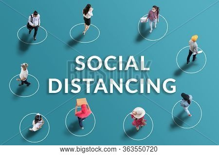 Social Distancing Concept. People Keep Spaced Between Each Other For Social Distancing, Increasing T