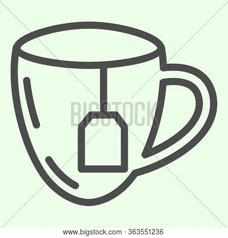 Lunch Break Line Icon. Cup Of Tea With Tea Bag Outline Style Pictogram On White Background. Business
