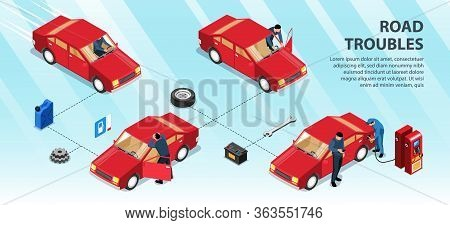 Road Troubles Infographics Layout With Man Pushing His Car On Track To Gas Station Isometric Vector