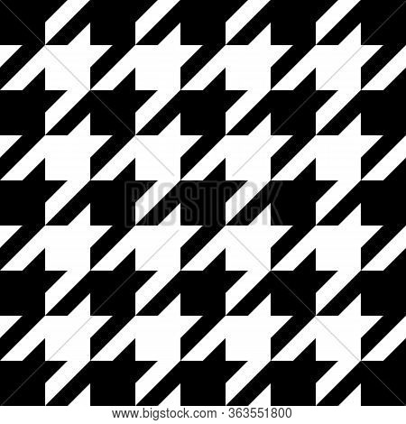 Goose Foot. Pattern Of Crows Feet In Black And White Cage. Glen Plaid. Houndstooth Tartan Tweed. Dog