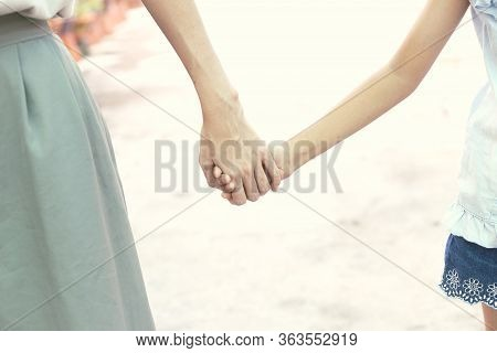 True Love - Mother Hold Daughter Hand With Love And Walk Together