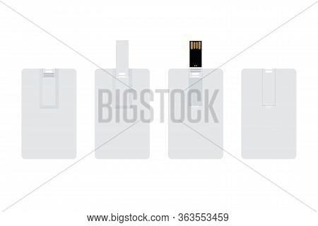 Blank White Wafer Usb Flash Card Back View And Front View, Opened And Closed. Empty Template For Cor