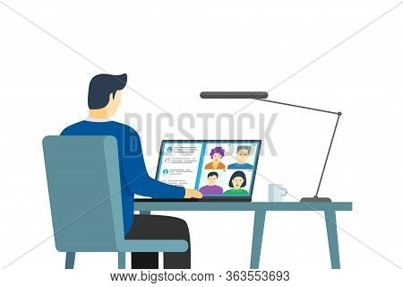 Male Using Laptop With People Group On Screen Taking Part Online Conference. Virtual Work Meeting An