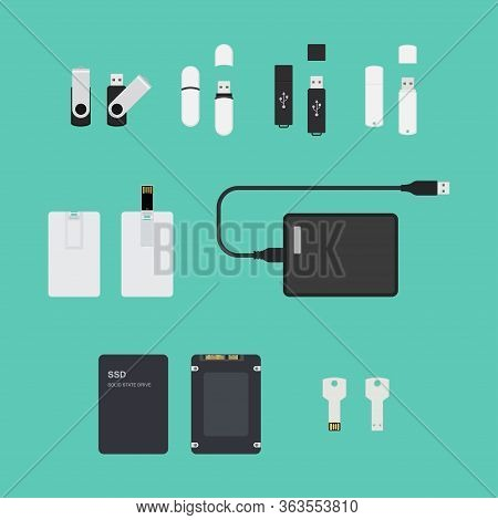 Ssd And Usb Storage Devices Collection Set. Simple Flat Vector Illustration Isolated On Plain Blue B