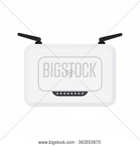 White Wireless Wi-fi Router With Black Antennae. Simple Flat Vector Illustration. Isolated On White