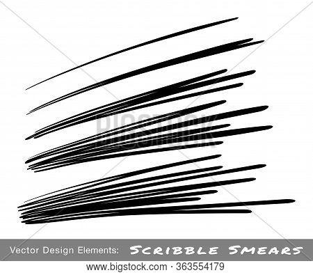 Hand Drawn Pen Scribble Line Set. Marker Oblique Stroke Scratch Collection. Brush Black Scrawl Sketc