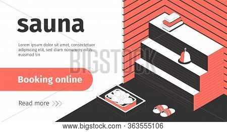Sauna Booking Online Isometric Banner With Bath Accessories 3d Vector Illustration
