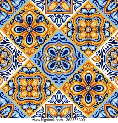 Italian Ceramic Tile Pattern. Mediterranean Porcelain Pottery. Ethnic Folk Ornament. Mexican Talaver