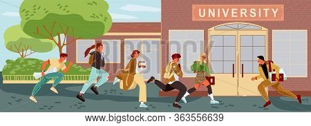 Students, Teachers Are Late To Lessons. Boys, Girls Keeping Backpacks, Books, Hurry Up, Running To U