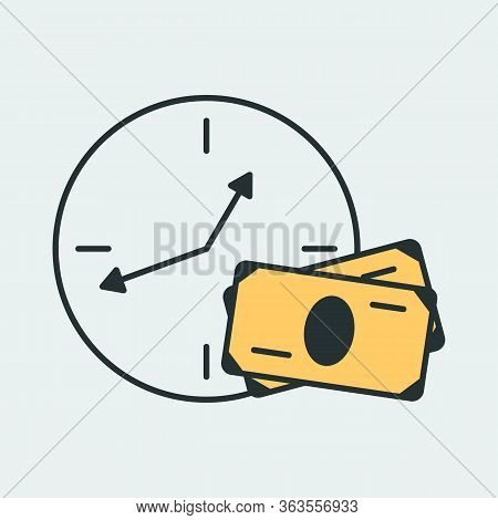 Vector Cash Back Icon With Round Clock And Cash Money. It Represents A Concept Of Cash Back, Saving