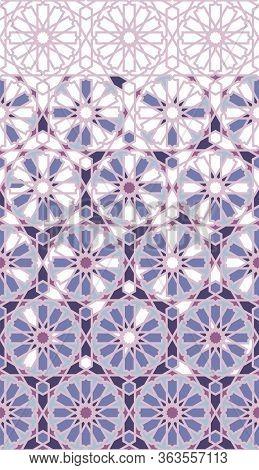 Arabesque Mosaic Vector Border, Wallpaper. Geometric Halftone Pattern With Color Arabesque Disintegr