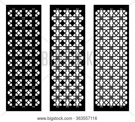 Set Of Decorative Vector Panels For Laser Cutting. Template For Interior Partition. Vector Decorativ