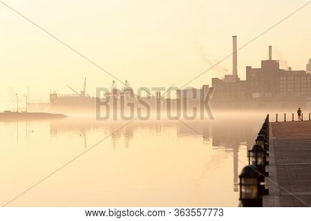 Baltimore, Maryland, United States - April 24, 2011: Inner Harbor, Port Facilities And Industries At
