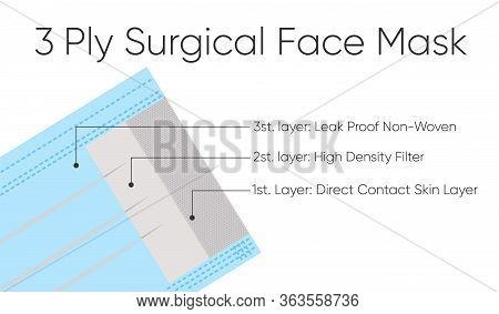 Standard 3 Ply Mask With Three Layers And Their Respective Functions. Covid-19 Protection. Eps 10