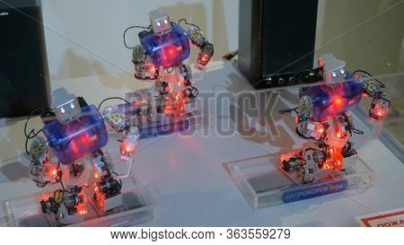 Moscow, Russia - July 30, 2018: Robostation - Future Exhibition. Humanoid Robots With Colourful Illu