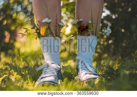 Womens Feet In Socks They Are Inserted Flowers. A Young Girl Is Standing In Socks With Flowers. Flow