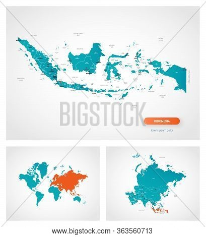 Editable Template Of Map Of Indonesia With Marks. Indonesia On World Map And On Asia Map.