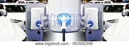 Power Supply For Electric Car Charging. Electric Car Charging Station. Ev Car Battery Charger At Cha