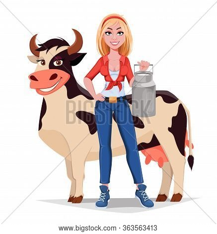 Happy Smiling Farm Girl Stands Near Cow And Holds Milk Can. Beautiful Farmer Woman Cartoon Character