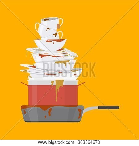 Cartoon Color Dirty Dishes Set Pile. Vector Illustration