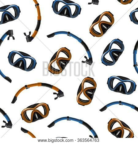 Realistic Detailed 3d Diving Mask And Snorkel Seamless Pattern Background Underwater Equipment For S