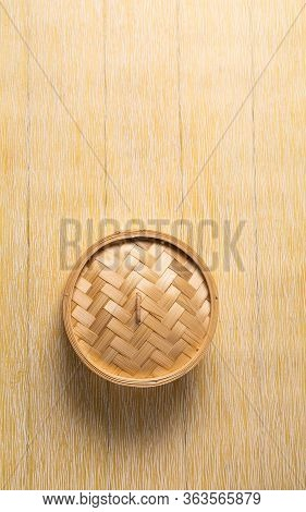 Empty Basket Of Dim Sum Made By Bamboo Material. Chinese Traditional Cuisine Concept. Dumplings Dim
