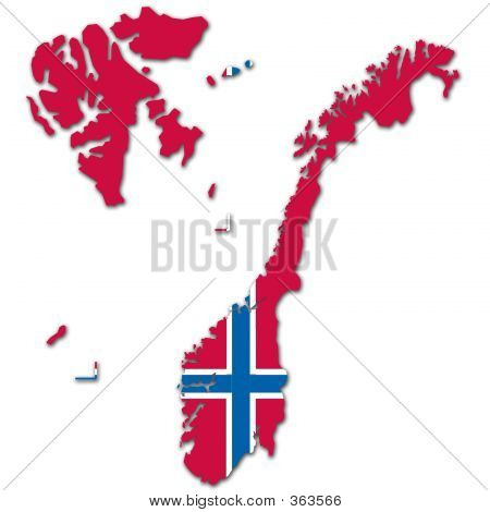 Norway Map And Flag