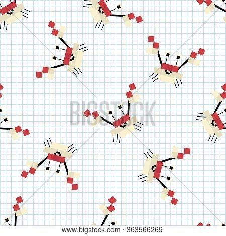 Cute Cartoon 8bit Crustacean Seamless Vector Pattern. Ocean Wildlife Animal. Crab Pixel Art All Over