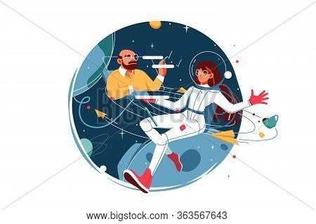 Confident Woman In Spacesuit Work From Space Using Laptop. Isolated Concept Female Cosmonaut Charact