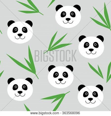 Cute Cartoon Panda Bear Seamless Pattern. Vector Background With Panda Face And Bamboo Leaves. For C