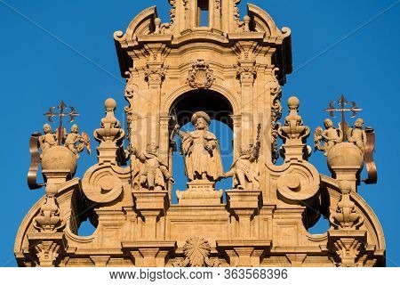 Statue Of Apostle Saint James. Cathedral Of Santiago De Compostela, Spain. Obradeiro Square In Santi