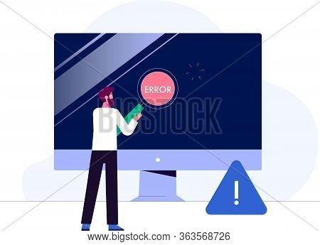 Concept Businessman Character With Modern Device And Technology With Warning. Vector Illustration
