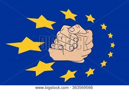 Happy Europe Day. European Union. Poster, Card, Banner With Perspective Circle 12 Yellow Star Sign A
