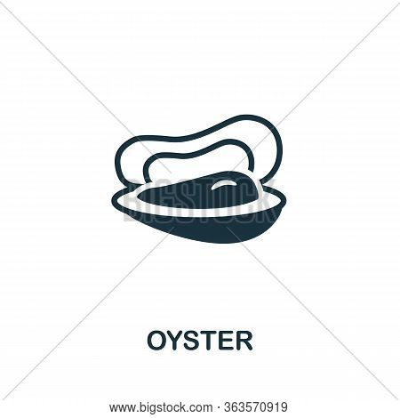 Oyster Icon. Simple Illustration From Seafood Collection. Creative Oyster Icon For Web Design, Templ