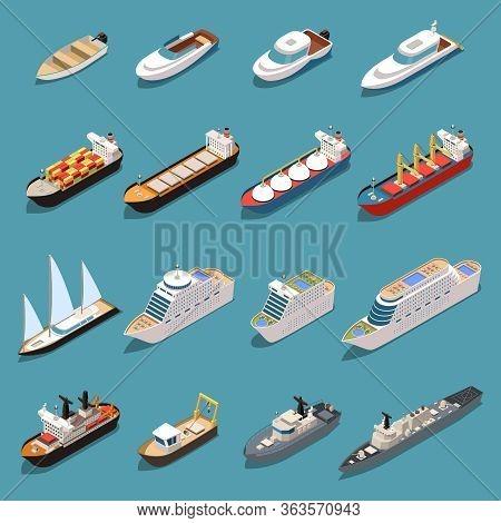 Ships Isometric Set With Icebreaker Speedboat Cruise Liner Bulk Carrier Sail Yacht Oil Tanker Warshi